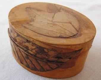Handmade Primitive Vintage Wood Organizer Keepsake Box Leaf Design Brown Orange Desk Dresser Organizer