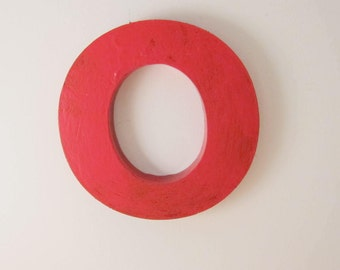 "Vintage Salvaged Red Metal Letter Lower Case ""o"""