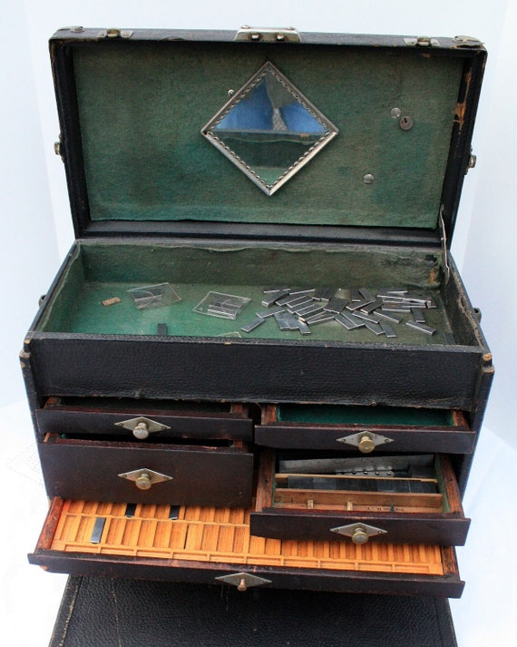 Antique Black Machinist Chest Tool Box Hinged Lid Industrial Era Vintage Leather Chest With Handle