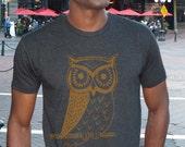 Owl T-Shirt  Mens (Charcoal)
