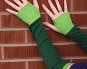 Recycled Green and Lime Arm Warmers