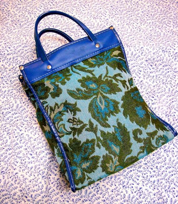 Vintage - Olive Green & Turquoise Tapestry Purse - Handbag - Upholstery - Retro - Plastic - Vinyl