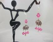 Pink,Peridot, Ernite and Tanzanite Swarovski Chandelier Earrings
