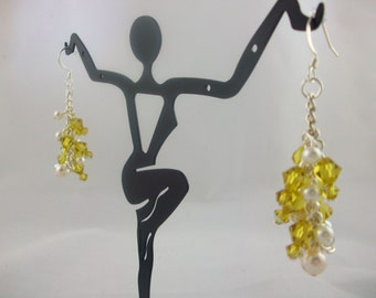 Swarovski Crystal and Pearl Earrings Lime, Red and Peridot