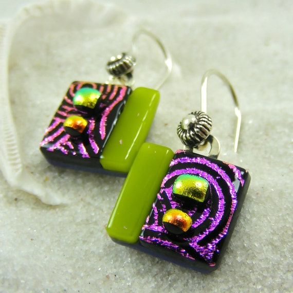 Raspberry Butterfly Dichroic Earrings