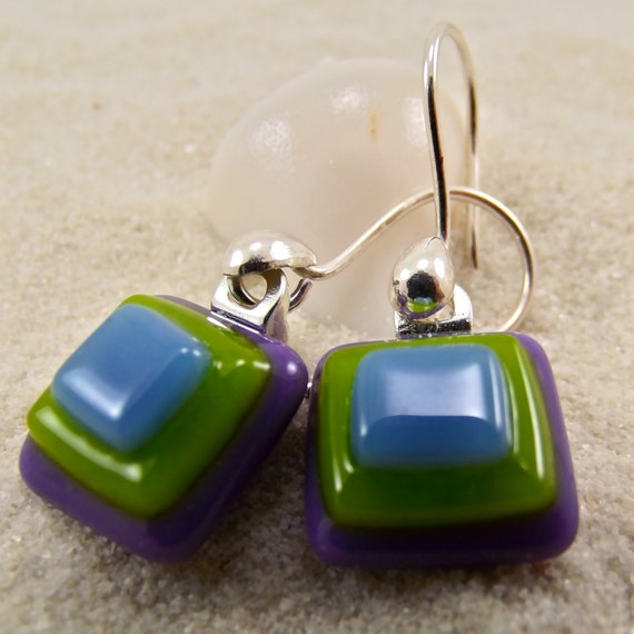 Origami Oli Fused Glass Earrings