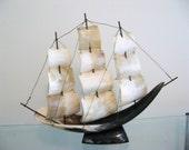 SALE Vintage Cow Horn Ship