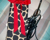 Great Gift Leopard & Red Curling Iron/Flat Iron Case READY TO SHIP