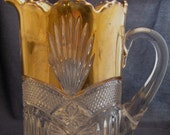 Vintage Pressed Glass Pitcher Gold Overlay Antique