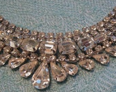 Vintage Rhinestone Waterfall Bib Necklace Glamorous Prong Set