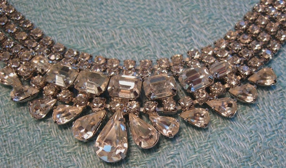 Vintage Rhinestone Waterfall Bib Necklace Glamorous Prong Set