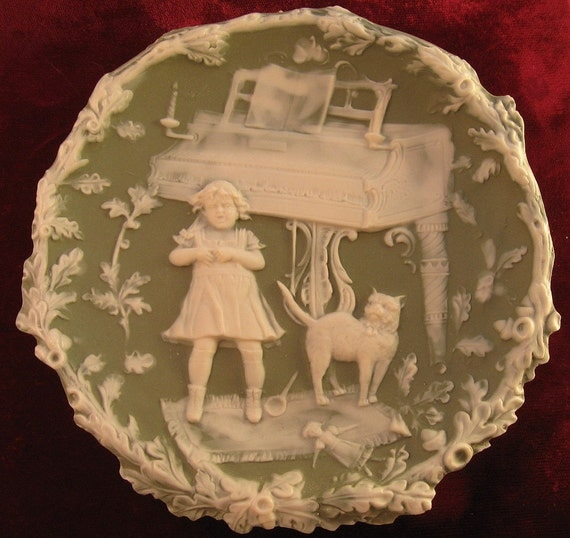 Reserved for Maurice - Schafer & Vater Jasperware Plaque Crying Girl, Cat, Piano
