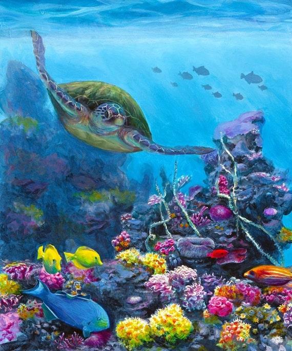 Hawaii Honu Wall Art Green Sea Turtle Swimming Through