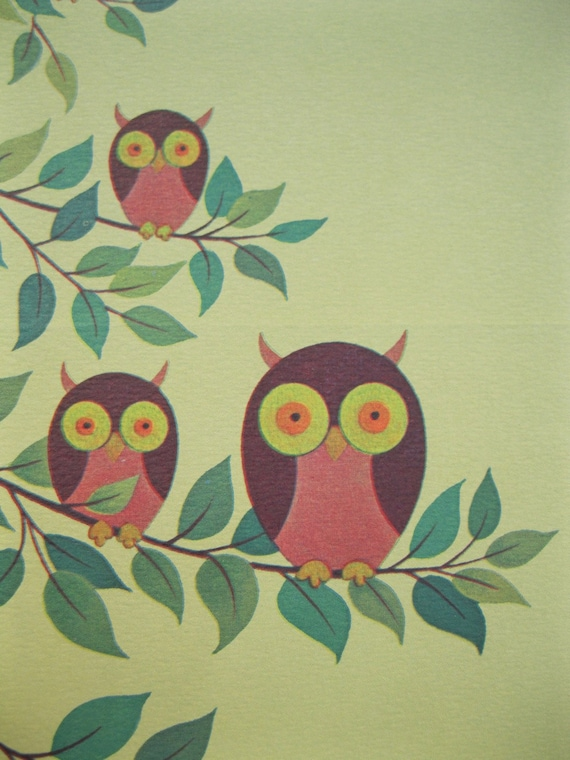 Cute 1970s Owl Note Cards
