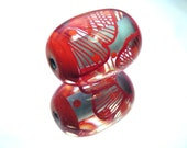 Moogin -red, coral and pale blue patterned oval focal bead - lampwork - sra