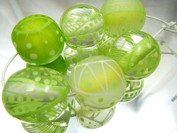 Moogin bead- lemon and lime batik style lampwork bead set - 20mm- SRA