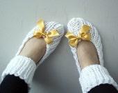 Snow White  Slippers Socks with Saffron Ribbon Bow Christmas Gift For Mom For Women Girl