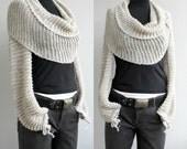 Hand Knitted Beige Bolero - Scarf - Shawl - Neckwarmer For Bridal for Bridesmaids fall wedding gift for Her