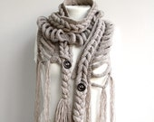 Hand Knitted Milky Brown Wool Scarf with Brown Button / Winter Knit Accessories / Outdoors Gift / Gift for Her / Under Usd 100