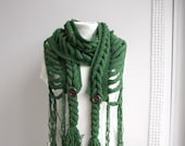Dark Green Wool  Scarf with Brown Button Mothers day gift for Women for Lover under 75