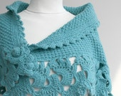 Turquoise Capelet Shawl Handmade Gift under75 Valentine's Day Gift Winter Fashion