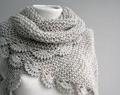 Handmade Beige Triangle  Midi Shawl scarf collar Capelet Cowl Christmas gift