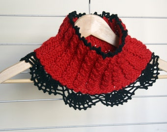 Red  Neckwarmer Cowl with black lace gift under50