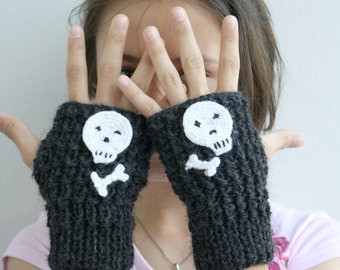 Unisex Charcoal Hollowen White Skull Handknit Fingerless Gloves gift for women and girl christmasinjuly