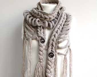 Hand Knitted Milky Brown Wool Scarf with Brown Button / Winter Knit Accessories