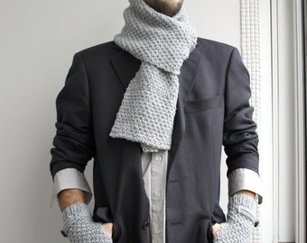 Handknit Wool Scarf  For Men For My DAD perfect Gift Fathers Day Gift uNder75