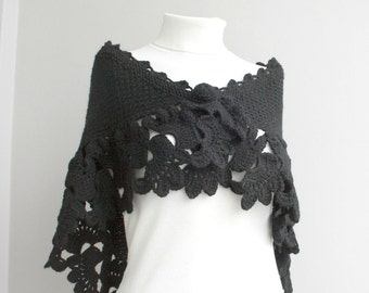 Black  Capelet Shawl Gift under75 for Bridal Wedding Capelet Christmas Xmas