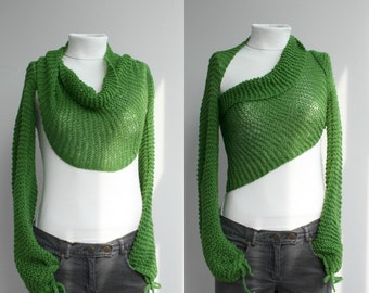 Hand Knit Long Sleeve Grass Green Bolero / Bridal Knit Scarf / Shawl Neckwarmer Christmas Gift