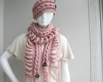 Pink  Wool  Scarf And Hat Set  with Dark Gray  Button  gift Under100