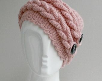 Pink  Wool  Hat Beanie  with Dark Gray  Button Christmas gift For Her