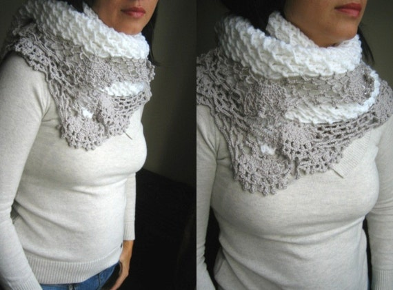 White and Grey Gray Shawl SCARF Christmas gift for women  for girl Friend  for Mom Etsy gift under55