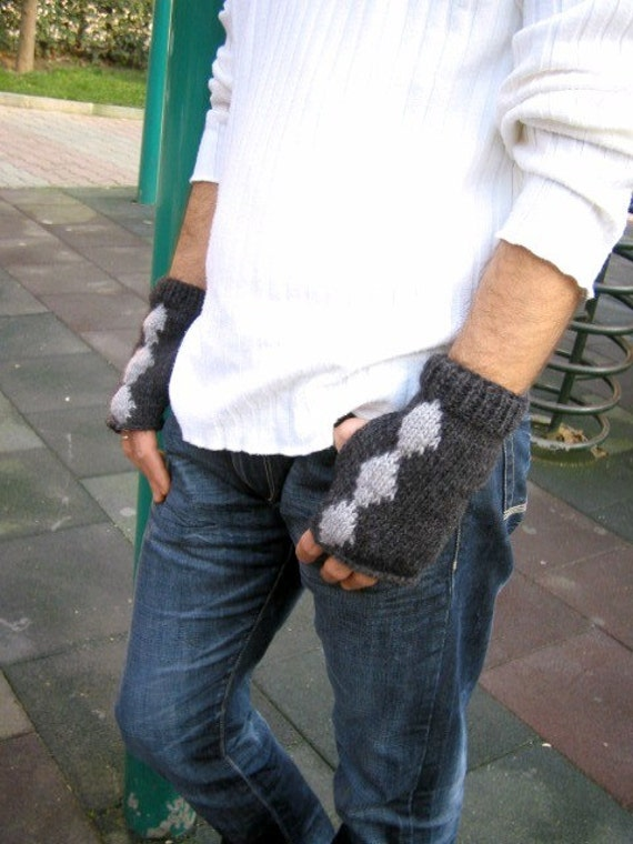 Black  and Grey  Handknit Fingerless Gloves  for men  unisex gift under30 Fathers Day gift