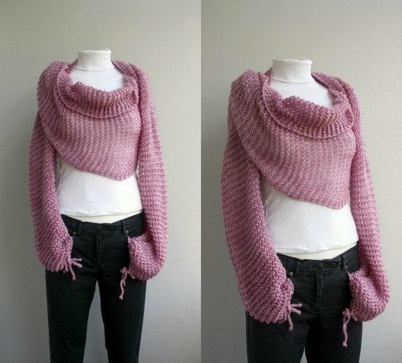 Hand Knit Pink Knit Bolero Shrug Scarf Shawl Neckwarmer