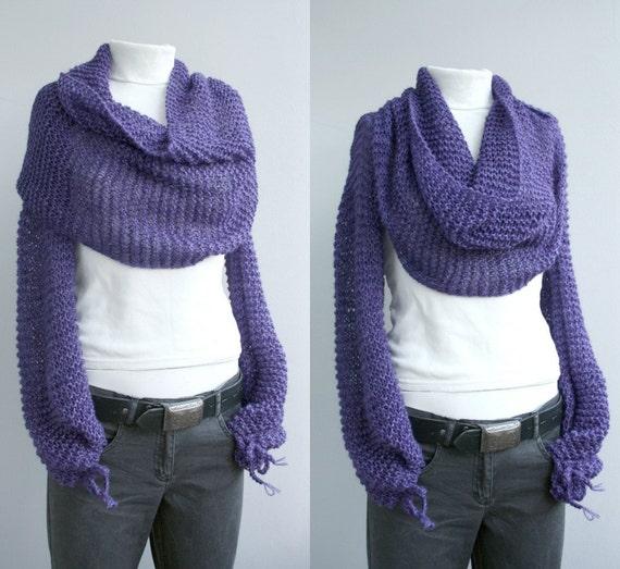 FREE Shipping Long sleeves Angora wool Purple Bolero Scarf Shawl Neckwarmer  Gift Under 100 For Women  Christmas Gift
