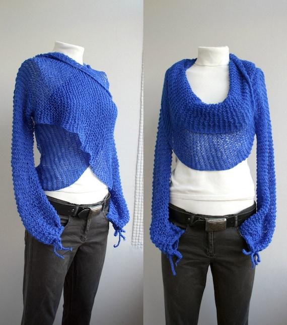 Long Sleeve Cobalt Blue  Bolero Scarf Shawl Neckwarmer Christmas gift under 100 For Lover