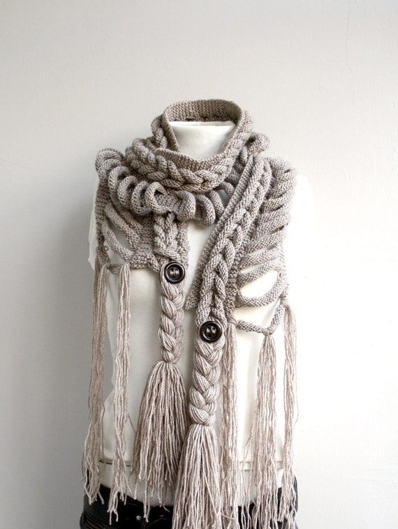 Hand Knitted Milky Brown Wool Scarf with Brown Button / Christmas Gift / Winter Knit Accessories