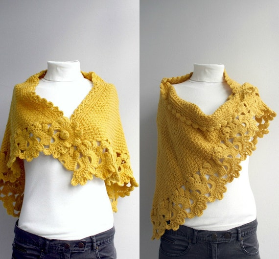 Mustard Yellow Capelet Shawl Cowl Neckwarmer  Mothers Day gift under75