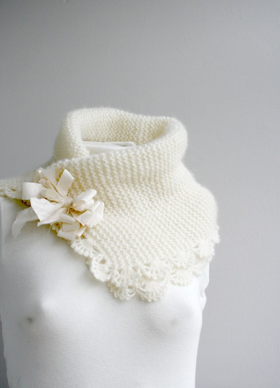 Hank Knit Angora Wool Ivory Scarf with Silk Bow / Beige Wool Collar / Bridal Cowl gift for Her / Fall Wedding accessories