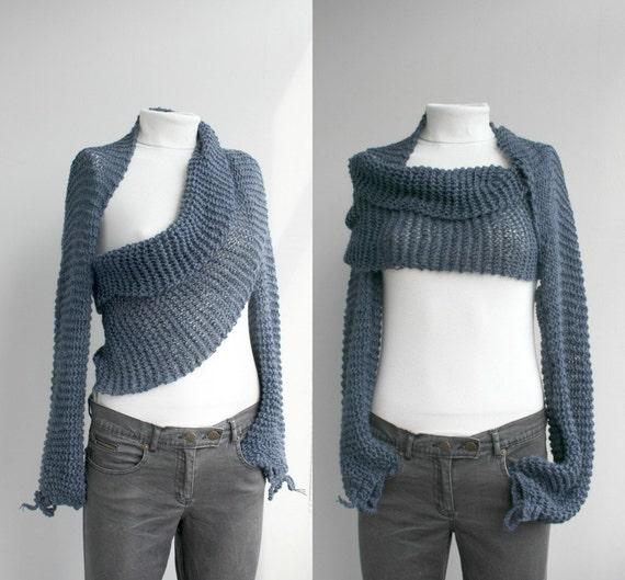 Long sleeve Indigo Denim Blue  Bolero Scarf Shawl Neckwarmer Gift Under 100 Christmas Gift