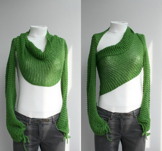 Hand Knit Long Sleeve Grass Green Bolero / Bridal Knit Scarf / Shawl Neckwarmer Christmas Gift