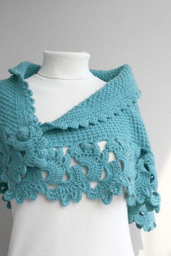 Turquoise Capelet Shawl Handmade Gift under75 Mother'sDay Gift