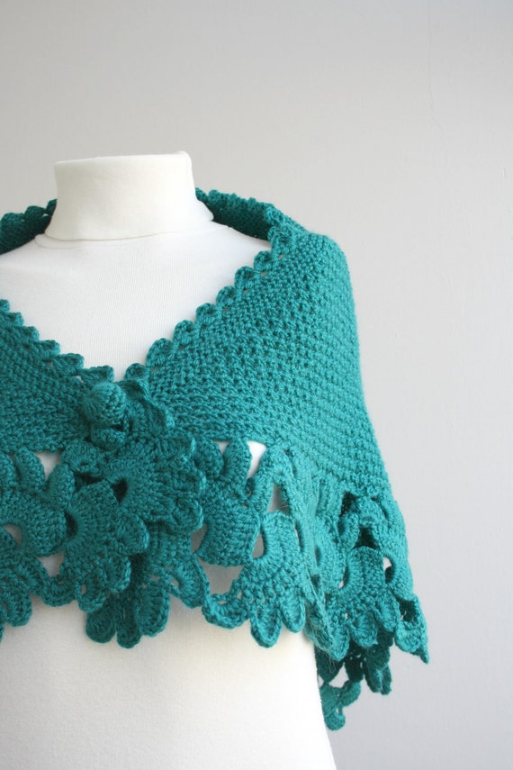 Teal Capelet Shawl Gift Mothers Day Gift under75