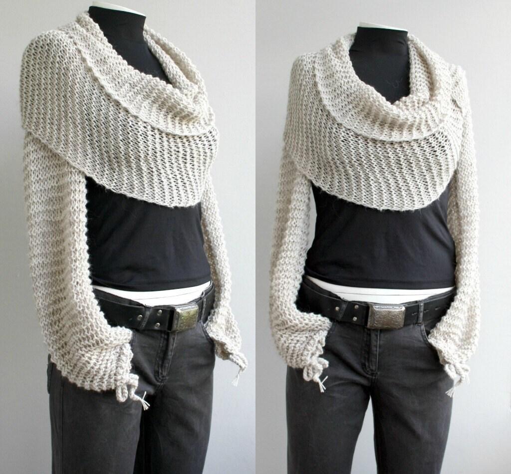 Hand Knitted Long Sleeves Beige Bolero Scarf Shawl