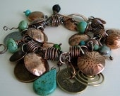 "Bracelet. Copper. Wire Wrapped. Coins. Hand Forged and Textured.  Turquoise - ""Copper Pennies"""