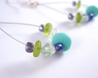CLEARANCE Earrings, Blue, Green, Looped, Sterling Silver, Jewelry by Informalelegance on Etsy, E 125