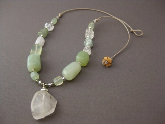 Necklace, Jade with natural Cord, Sterling Silver, Jewelry by Informalelegance on Etsy, NB 1058